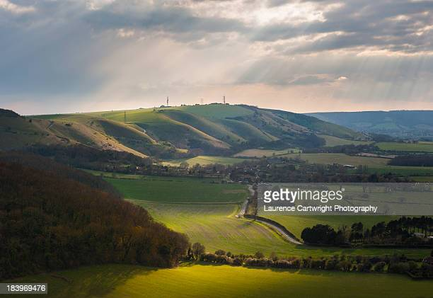 A view west across the South Downs in England