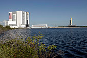 September 4, 2008 - Viewed across the turn basin near the Vehicle Assembly Building at NASA's Kennedy Space Center, space shuttle Atlantis crawls toward Launch Pad 39A. ??