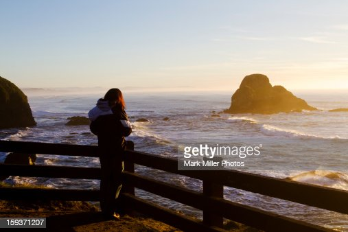 Viewer of Pacific Ocean Sunset : Stock Photo