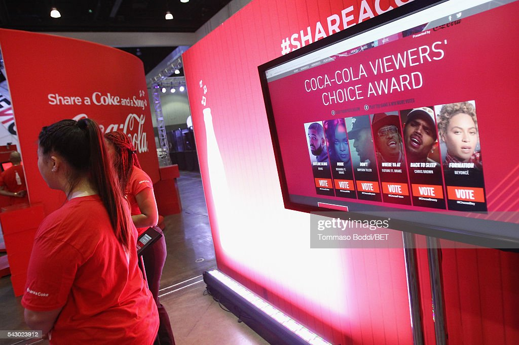 Viewer's Choice Award promo is seen at the Coke music studio during the 2016 BET Experience on June 25, 2016 in Los Angeles, California.