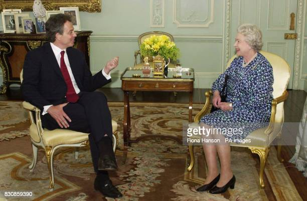 TV viewers will this week get this rare glimse of the Britain's Queen Elizabeth II giving an audience at Buckingham Palace to Prime Minister Tony...