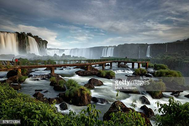 Viewing platform beneath Floriano Falls at Iguazu Falls in Brazil