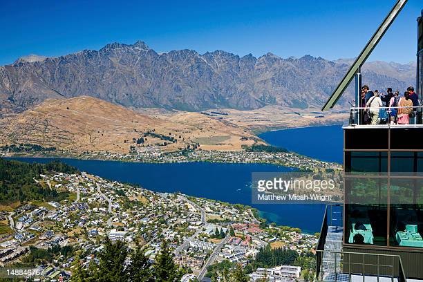 Viewpoint atop Bob's Peak with the Remarkables mountain range in background.
