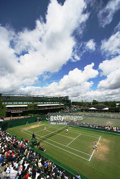 Views across courts 34 and 5 during day five of the Wimbledon Lawn Tennis Championships at the All England Lawn Tennis and Croquet Club on June 29...