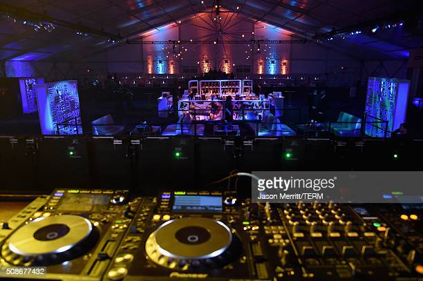 Views from the DJ booth at The Playboy Party during Super Bowl Weekend which celebrated the future of Playboy and its newly redesigned magazine in a...