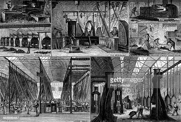 Views in the Royal Small Arms Factory Enfield c1880 The boilerhouse grindery annealing furnaces brasswork forges A print from Great Industries of...