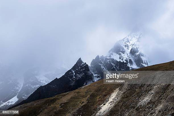 Views of Cholatse area from the trail heading towards Pheriche on September 30 2016 in Dughla Nepal The trails in the SoluKhumbu region of Nepal are...