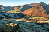 """Catbells on a winters morning is a great walk. The scenery is stunning and this view of """"little town"""" is typical of that scenery. The sun was rising in the morning which formed shadows on the mountain"""