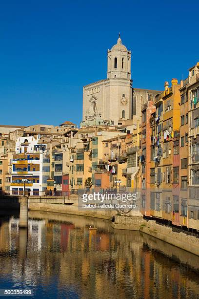 Views of the Cathedral of Girona from the bridge