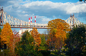 Views of the Ed Koch Bridge Manhattan with Fall Foliage