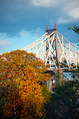 Views of the Ed Koch Bridge Manhattan with Fall Foliage