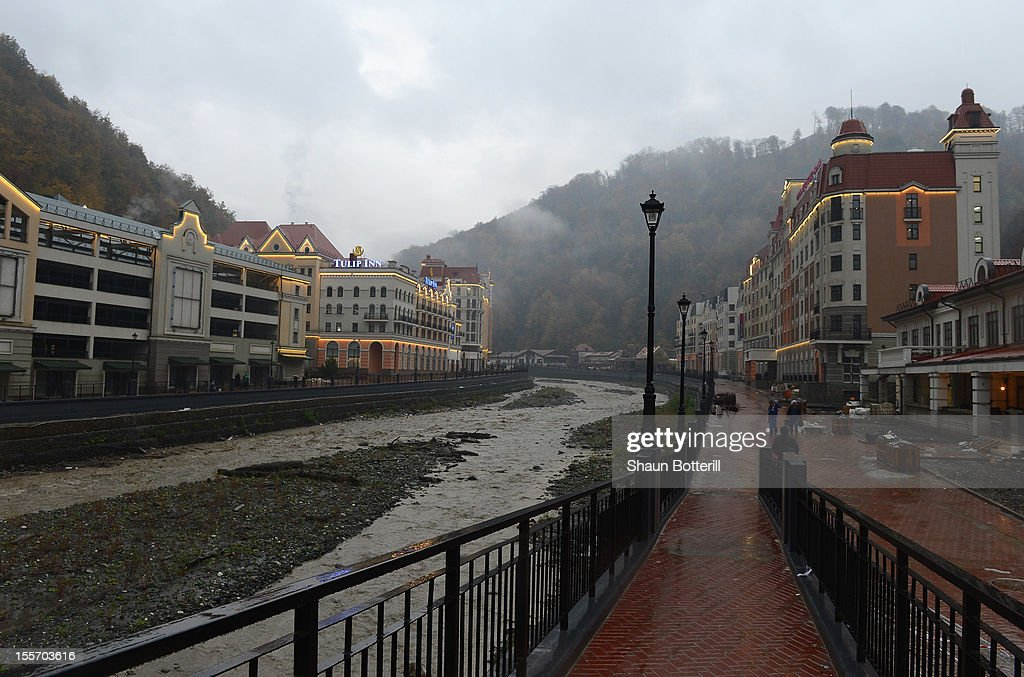 Views of the river running through Rosa Khutor mountain venue for the 2014 Winter Olympics on November 7, 2012 in Sochi, Russia.