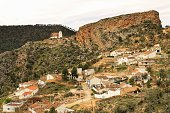 Views of the town of Villa de Ves between mountains and on top of the Sanctuary. Community of Castilla La Mancha, Albacete, Spain.