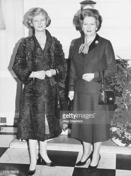 Vigdis Finnbogadottir the President of Iceland meets British Prime Minister Margaret Thatcher at Number 10 Downing Street in London 17th February 1982