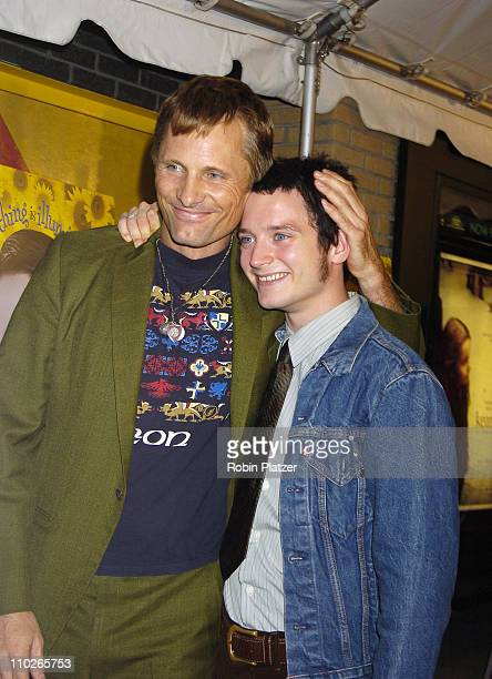 Viggo Mortensen and Elijah Wood during 'Everything is Illuminated' New York City Premiere at The Landmark Sunshine Cinema in New York New York United...