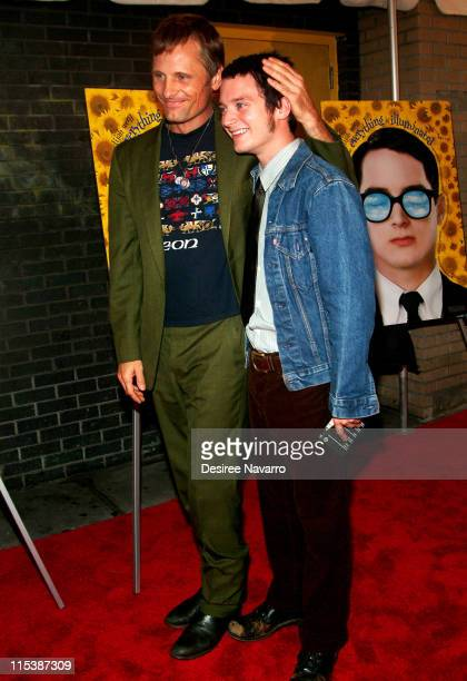 Viggo Mortensen and Elijah Wood during 'Everything is Illuminated' New York City Premiere Arrivals at Landmark's Sunshine Cinema in New York City New...