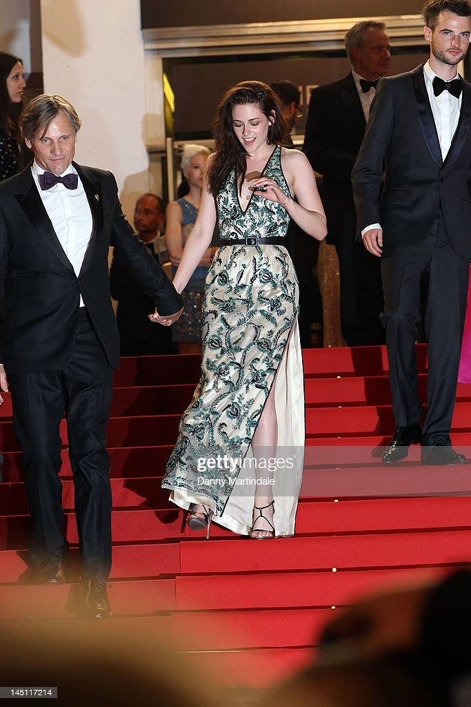 Viggo Mortensen and Kristen Stewart depart the 'On The Road' Premiere during the 65th Annual Cannes Film Festival at Palais des Festivals on May 23, 2012 in Cannes, France.