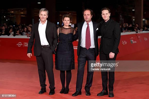 Viggo Mortensen Ginevra Elkann Francesco Melzi D'Eril and Matt Ross walk a red carpet for 'Captain Fantastic' during the 11th Rome Film Festival at...