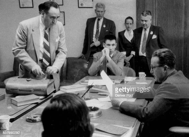 MAY 3 1956 MAY 4 1956 Vigil and defendant John Gilbert Graham reads a statement signed by Graham declining to testify in his own behalf and...