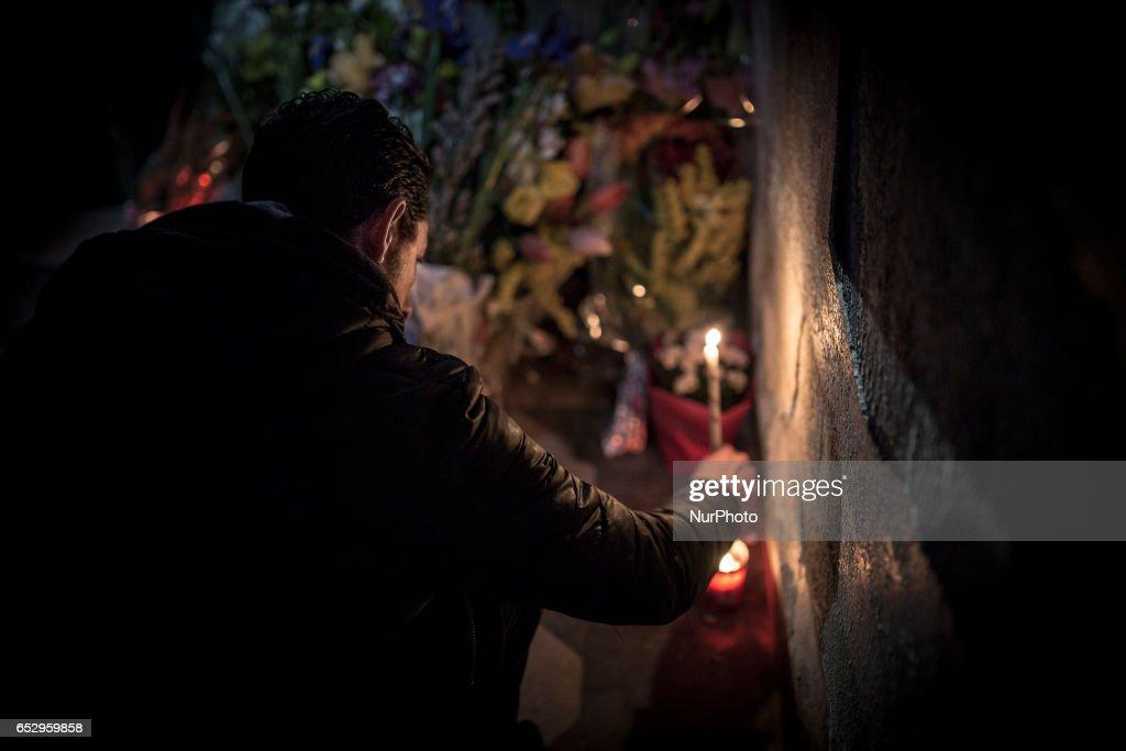 Vigil in memoriam of homeless burned two days ago in Santa Maria della Pace dei Frati Minori Cappuccinis Church in Palermo on March 12, 2017