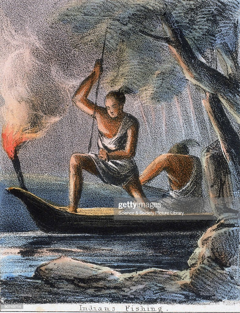 Vignette from a coloured lithographic plate showing Native Americans spearing fish at night from a canoe Taken from 'The Fish' in 'Graphic...
