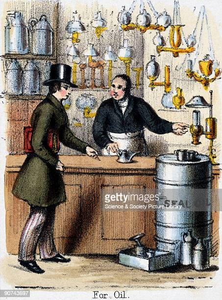 Vignette from a lithograph showing a shop selling lamps and fuel including oil derived from seals Oil taken from seals and whales was extensively...
