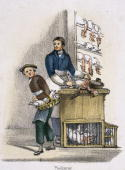 Vignette from a lithographic plate showing a man in a poulterer�s shop plucking a chicken Taken from 'Domestic Fowls' in 'Graphic Illustrations of...