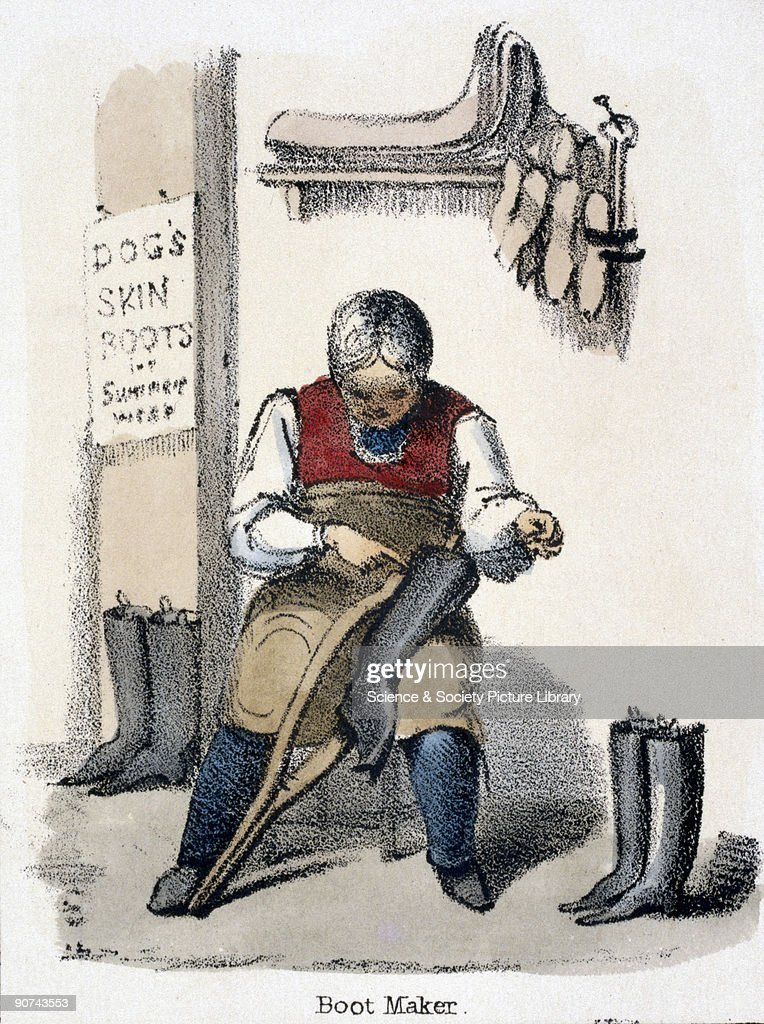 Vignette from a lithographic plate showing a man making boots from dog skin Taken from 'The Dog' in 'Graphic Illustrations of Animals Showing Their...