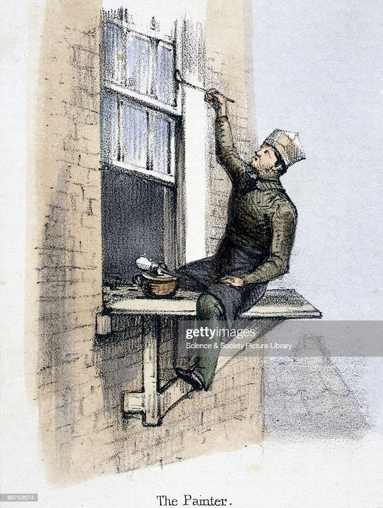 Vignette from a lithographic plate showing a man painting a window frame with a brush made from pig bristles The vignette is one of a series...