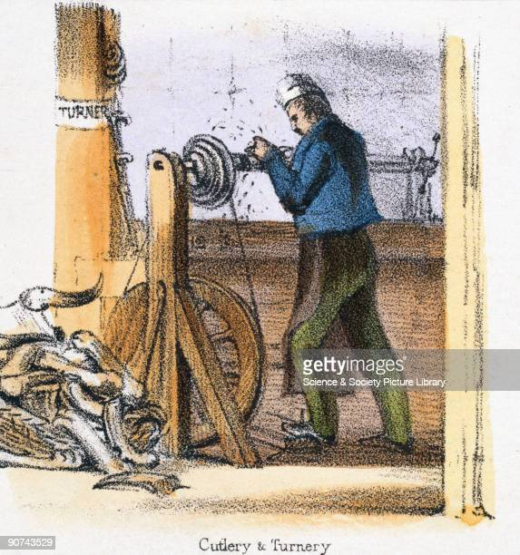Vignette from a lithographic plate showing a man working at a footpowered lathe turning bone or horn for cutlery handles Taken from 'The Bull Cow and...