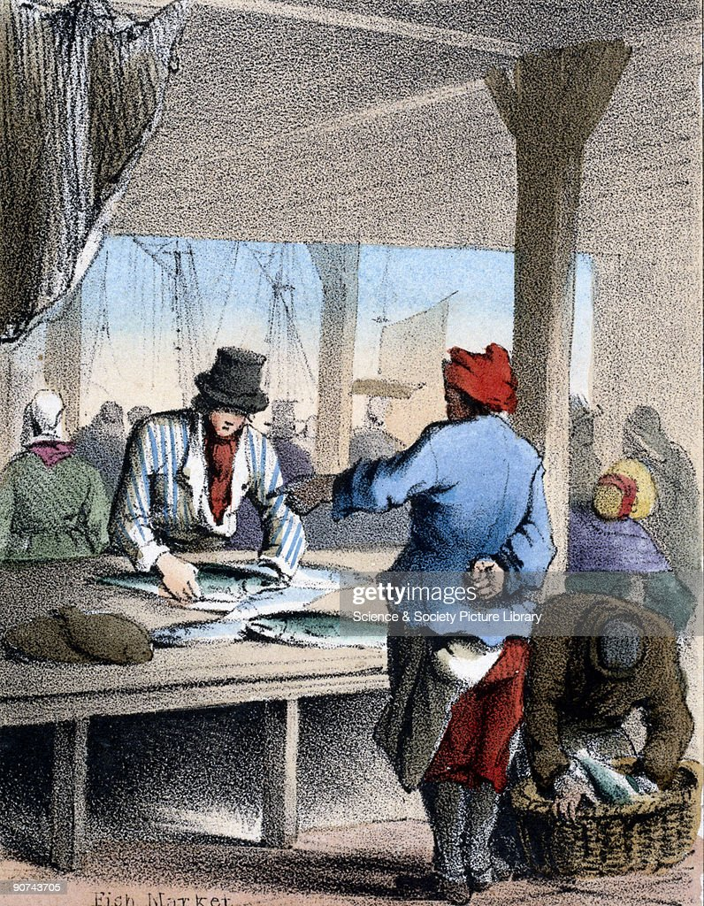 Vignette from a lithographic plate showing a scene at a fish market Taken from 'The Fish' in 'Graphic Illustrations of Animals Showing Their Utility...