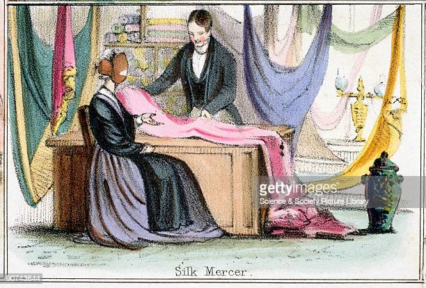 Vignette from a lithographic plate showing a silk mercer showing a selection of silk to a client Taken from �The SilkWorm� in 'Graphic Illustrations...