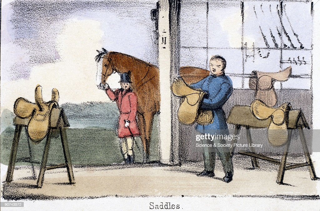 Vignette from a lithographic plate showing a tack room Taken from 'The Pig' in 'Graphic Illustrations of Animals showing their utility to man in...