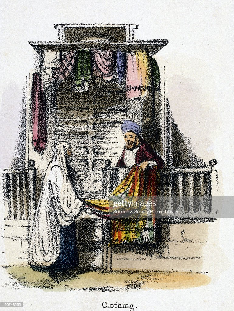 Vignette from a lithographic plate showing a vendor selling a camel hair cloak possibly in North Africa or the Middle East Taken from 'The Camel' in...