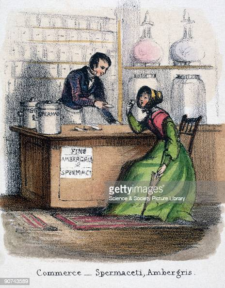 Vignette from a lithographic plate showing a woman purchasing cosmetic ingredients in a pharmacy or chemists Taken from 'The Whale' in 'Graphic...