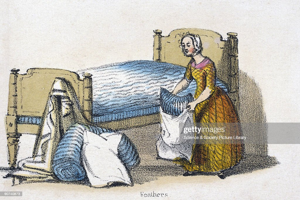 Vignette from a lithographic plate showing a woman putting a pillowcase on a feather filled pillow Taken from 'Dometic Fowls' in 'Graphic...