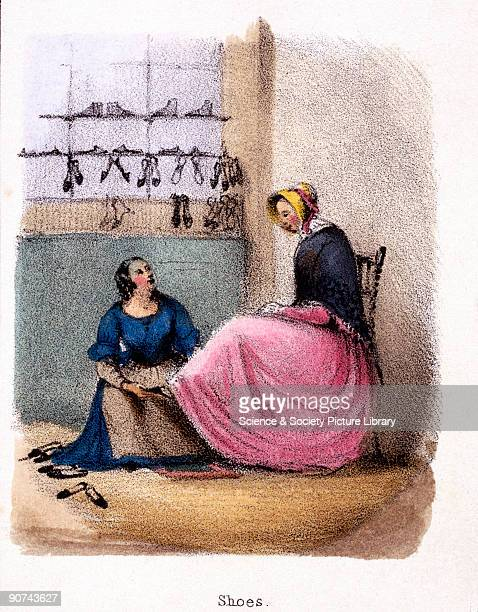 Vignette from a lithographic plate showing a woman trying on shoes in a shoe shop Taken from 'Graphic Illustrations of Animals Showing Their Utility...