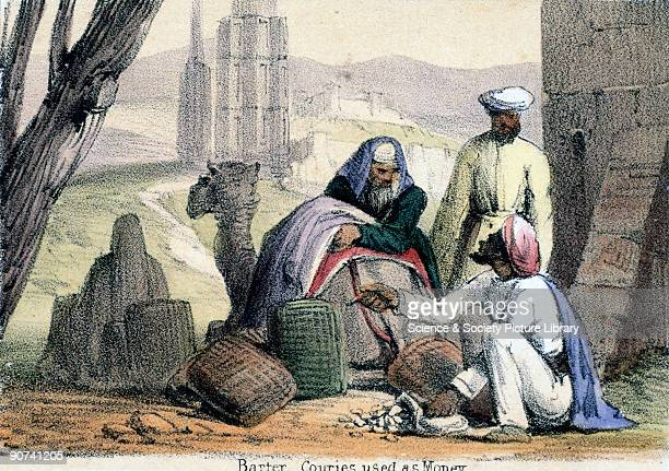 Vignette from a lithographic plate showing Arab traders using cowrie shells as currency Taken from 'Crustacea Reptiles' in 'Graphic Illustrations of...