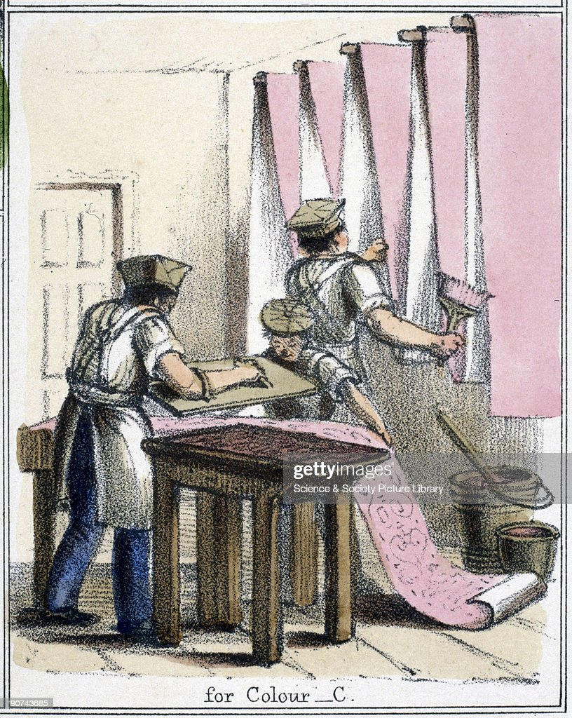 Vignette from a lithographic plate showing decorators painting wallpaper with paint made from cochineal Cochineal or carmine is a natural red dye...