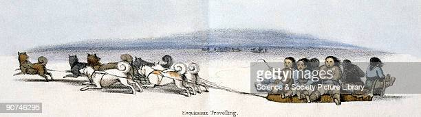 Vignette from a lithographic plate showing eskimos travelling on sledges pulled by groups of huskies Taken from 'The Dog' in 'Graphic Illustrations...