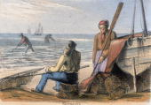 Vignette from a lithographic plate showing men fishing for shrimps in shallow seawater with nets Taken from 'Crustacea Reptiles' in 'Graphic...