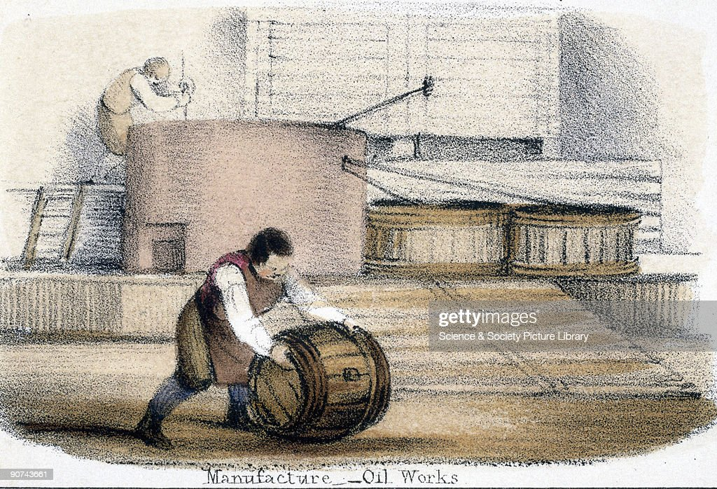 Vignette from a lithographic plate showing one man stirring a vat of whale oil while another rolls away a full barrel Whale oil is derived from the...