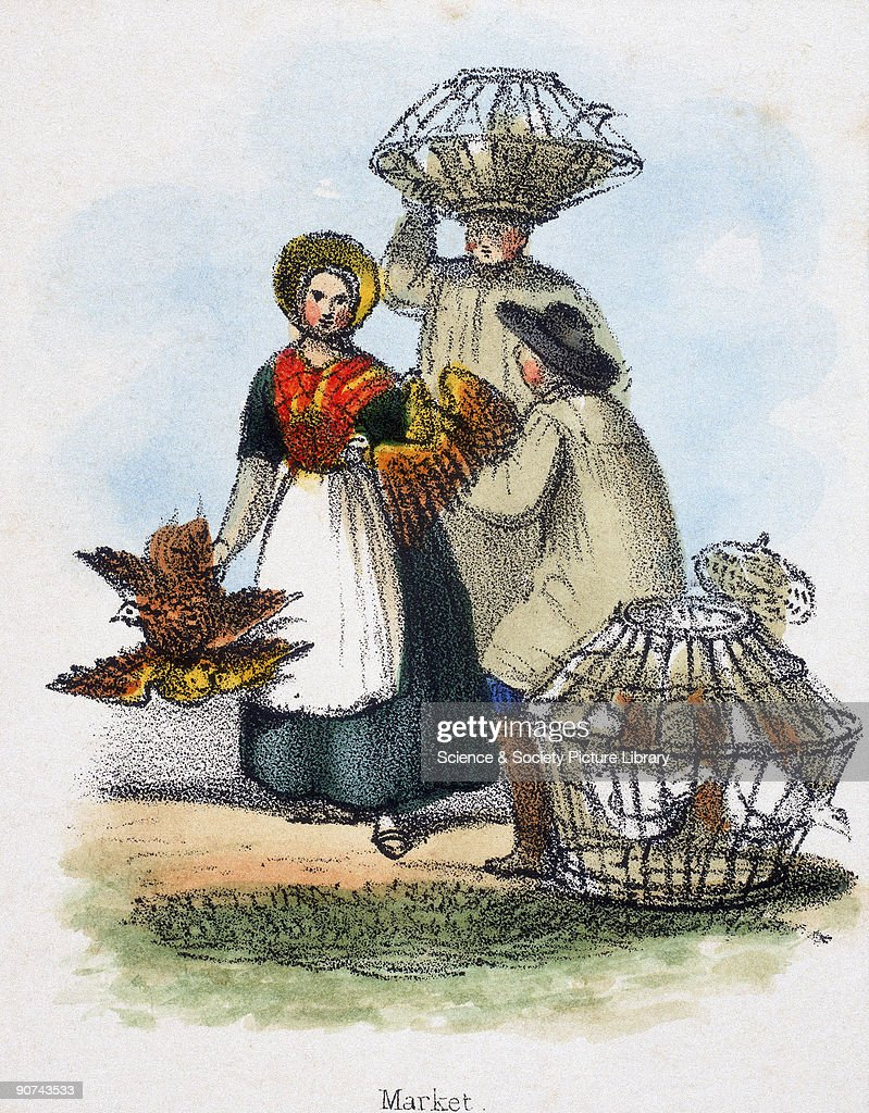 Vignette from a lithographic plate showing people carrying baskets of chickens Taken from 'Dometic Fowls' in 'Graphic Illustrations of Animals...