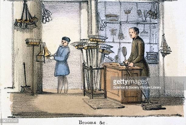 Vignette from a lithographic plate showing the interior of a broom shop with hogshair brushes demonstrating the use of bristles Taken from 'The Pig'...