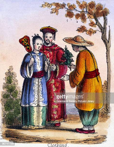 Vignette from a lithographic plate showing traditional oriental silk clothing Taken from 'The Bee' in 'Graphic Illustrations of Animals Showing Their...