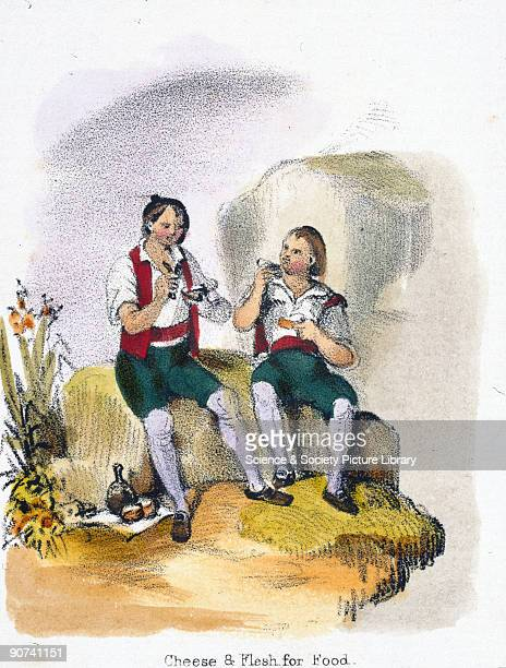 Vignette from a lithographic plate showing two men enjoying a picnic lunch in the countryside of goat's meat and goat�s milk cheese Taken from 'The...