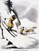 Vignette from a lithographic plate showing two men one on skis hunting wild reindeer in the snow Taken from 'The Rein Deer' in 'Graphic Illustrations...