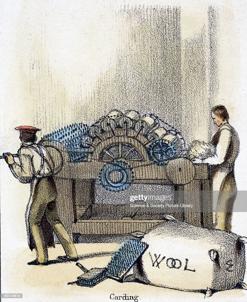 Vignette from a lithographic plate showing two young men carding wool using a drum carding machine Carding is the combing and disentanglement of...
