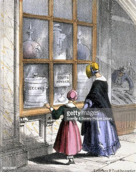 Vignette from a lithographic plate showing women outside a pharmacy selling leeches and tooth powder Tooth powder was occasionally made from ground...