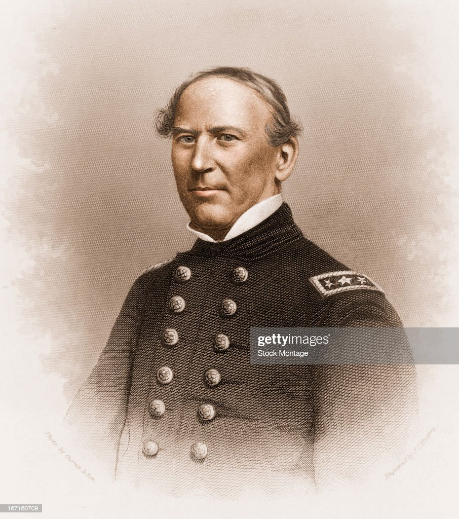 Vignettestyle engraved portrait of United States naval commander David Glasgow Farragut mid to late 19th century The map hanging over the edge of the...